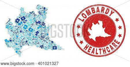 Vector Collage Lombardy Region Map With Injection Icons, Laboratory Symbols, And Grunge Health Care