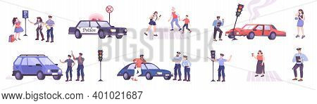 Traffic Police Set With Rules Violation Symbols Flat Isolated Vector Illustration