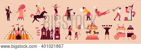 Circus Funfair Set With Isolated Icons Of Travelling Circus Big Top And Characters Of Visitors And P