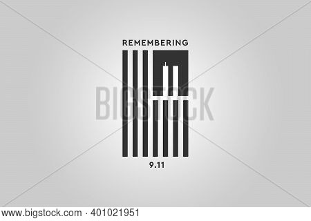 Always Remember 9 11. Black American or USA flag with the twin towers on gray background. Remembering Patriot day, memorial day. We will never forget, the terrorist attacks of september 11
