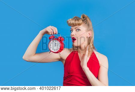 Pin Up. Pinup Woman. Pin Up Woman With Clock. Time. Surprised Woman. Pin Up Concept.