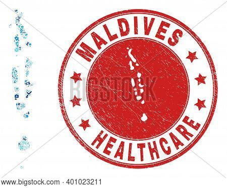 Vector Mosaic Maldives Map Of Vaccination Icons, Analysis Symbols, And Grunge Healthcare Rubber Imit