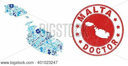 Vector Mosaic Malta Map With Treatment Icons, Chemical Symbols, And Grunge Doctor Seal Stamp. Red Ro