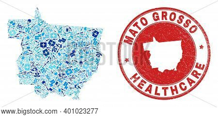 Vector Collage Mato Grosso State Map With Healthcare Icons, Laboratory Symbols, And Grunge Doctor Im