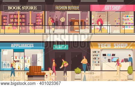 Shopping Mall Illustration With Interior Inside The Mall Shopping Corners Stores And Boutiques Vecto