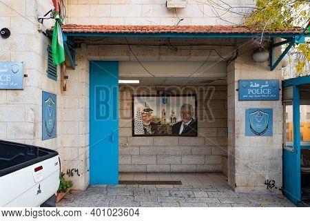 Bethlehem, Israel, December 09, 2020 : Portraits Of Palestinian Rulers - Yasser Arafat And Abu Mazen