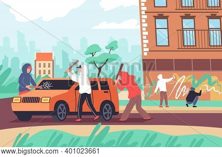 Vandalism Flat Composition With Outdoor Urban Street Landscape And Group Of Teenagers Beating Car Pa