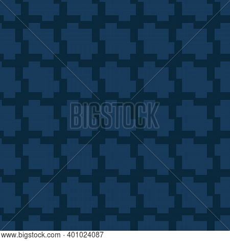Jacquard Textile Texture. Vector Seamless Pattern With Grid, Net, Mesh, Lattice. Simple Abstract Geo