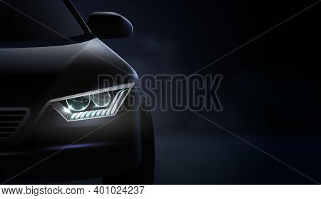 Realistic Car Headlights Ad Composition And Headlights With Green And Purple Illumination Vector Ill