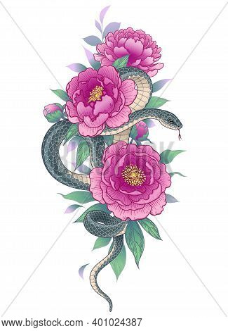 Hand Drawn Twisted Snake Among Peony Flowers Isolated On White. Vertical Floral Arrangement With Ser