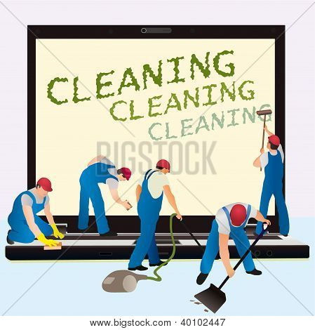 Five cleaners with big notebook and dark screen poster