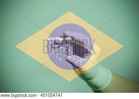 Flag Of Brazil Illustrating Campaign For Global Vaccination Against Covid-19. Epidemic Virus