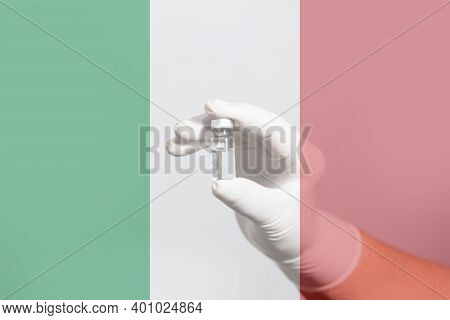 Flag Of Italy Illustrating Campaign For Global Vaccination Against Covid-19. Epidemic Virus