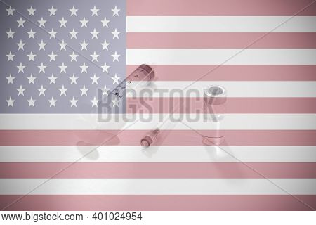 Flag Of Us Illustrating Campaign For Global Vaccination Against Covid-19. Epidemic Virus