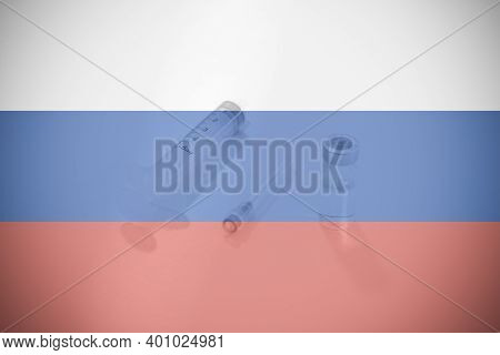 Russian Flag Illustrating Campaign For Global Vaccination Against Covid-19. Epidemic Virus