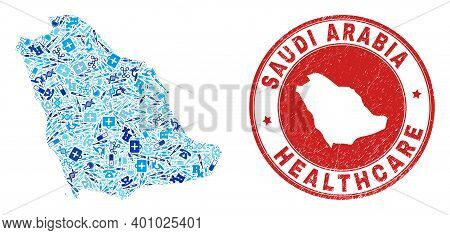 Vector Collage Saudi Arabia Map With Syringe Icons, Receipt Symbols, And Grunge Doctor Imprint. Red