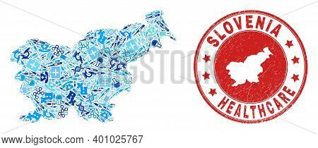 Vector Mosaic Slovenia Map With Dose Icons, Test Symbols, And Grunge Doctor Imprint. Red Round Impri