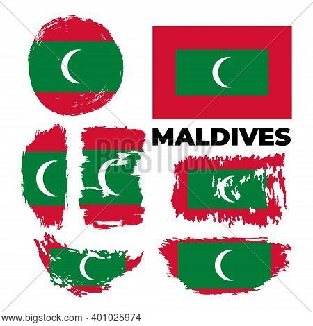 Flag Of Maldives Country. Happy Independence Day Of Maldives