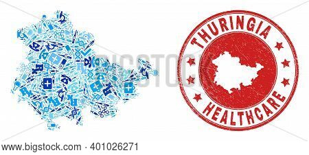 Vector Mosaic Thuringia Land Map With Healthcare Icons, Laboratory Symbols, And Grunge Health Care W