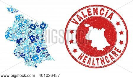 Vector Mosaic Valencia Province Map With Syringe Icons, Analysis Symbols, And Grunge Health Care Sea