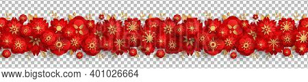 Chinese Seamless Border With Red Paper Cut Flowers And Gold Leaves Isolated On Transparent Backgroun