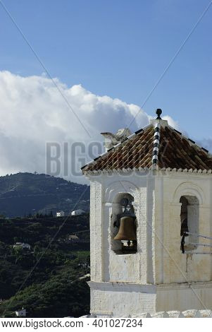 Frigiliana Village Spain. Bell Tower Of The Town Church Of San Antonio. Formerly The Minaret Of A Mo