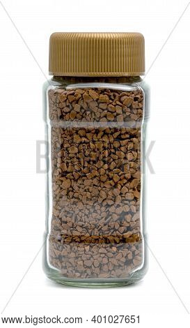 Instant Coffee Powder In Glass Bottle Isolated On White Background