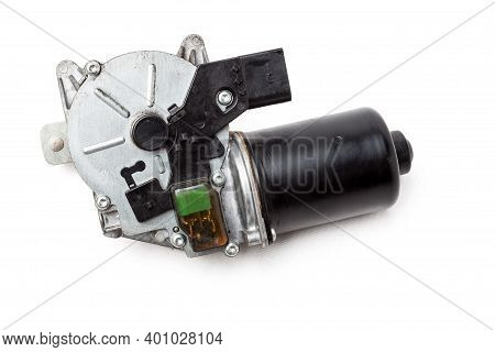 Wiper Electric Motor On White Isolated Background. Spare Car Parts Catalog.