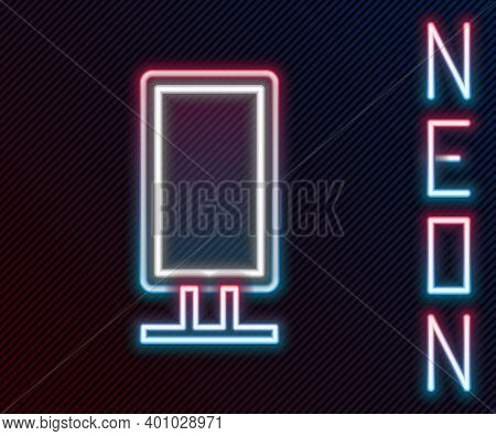 Glowing Neon Line Big Full Length Mirror For Bedroom, Shops, Backstage Icon Isolated On Black Backgr
