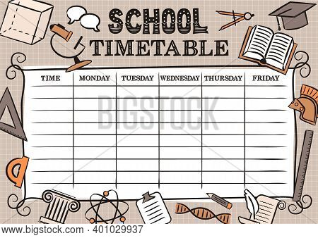 Vintage Template Of A School Schedule For 5 Days Of The Week For Students. Vector Illustration In Do