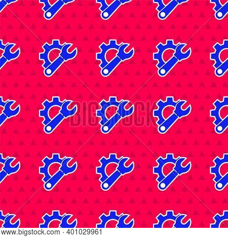 Blue Wrench Spanner And Gear Icon Isolated Seamless Pattern On Red Background. Adjusting, Service, S