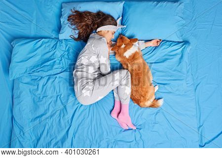 Above Shot Of Brunette Young Woman Sleeps Deeply With Pet Keeps Legs Crumpled Up Dressed In Pajama L