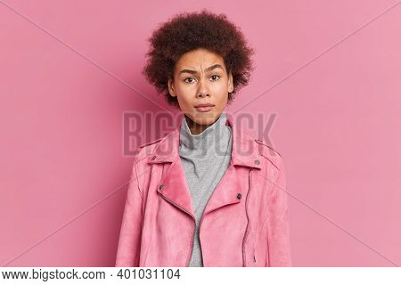 Puzzled Indignant Young Curly African American Woman Frowns Face Raises Eyebrows Feels Bewildered Dr