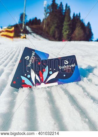 Bukovel, Ukraine - December 6, 2020: Ski Passes Close Up At Morning Velvet