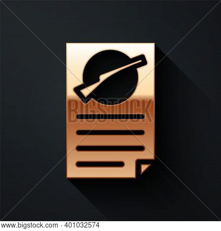 Gold Firearms License Certificate Icon Isolated On Black Background. Weapon Permit. Long Shadow Styl