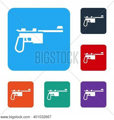White Mauser Gun Icon Isolated On White Background. Mauser C96 Is A Semi-automatic Pistol. Set Icons