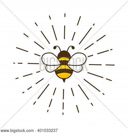 Lovely Cute Bee With Sunburst. Cartoon Bee Inside Rays Isolated On A White Background. Vector Illust