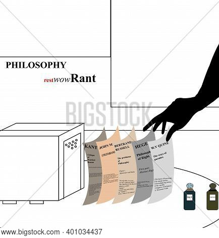 Illustration Of A Philosophy Restaurant With Napkins That Have Philosophy Quotes, Isolated On White