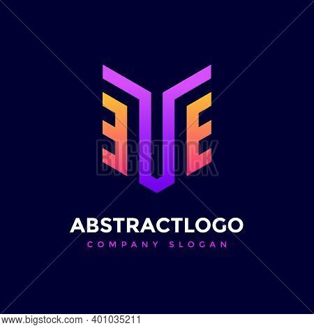 Abstract Te Initial Letter Colorful Logo Template