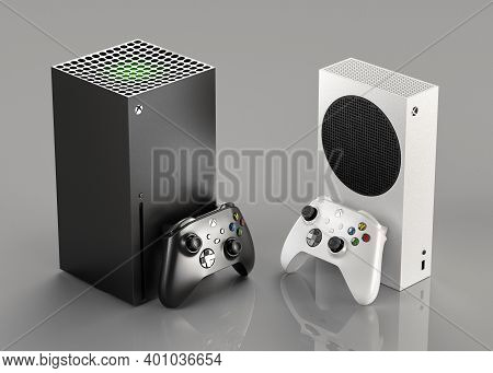 Italy - 27 December, 2020: New Video Game Consoles: White Xbox Series S And Black Xbox Series X