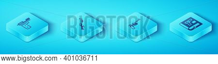Set Isometric Pistol Or Gun, Hunting, Book With Pistol And Mauser Icon. Vector