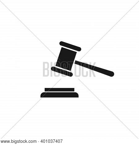 Hammer Justice Icon. Law Symbol. Court Gavel Vector Illustration. Judge Gavel Pictogram Isolated On