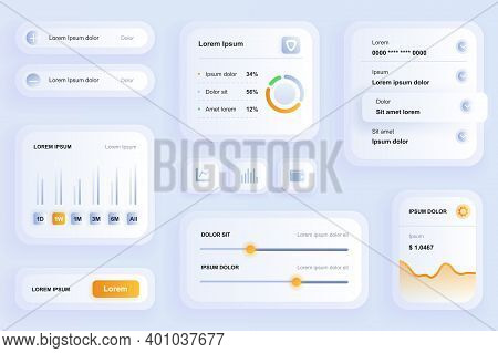 Gui Elements For Finance Mobile App. Financial Management And Business Analytics User Interface Gene