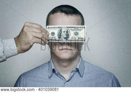Bribery Money Close Eyes Concept Background. Bribery Money Close Eyes Concept. Man With Bribe Coveri