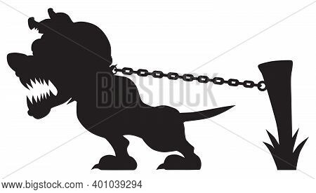 A Vicious Cartoon Guard Dog In Silhouette Is Growling And Tugging At His Chain