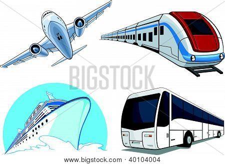 Transportation Model - Airplane, Cruise Ship, Train, Bus