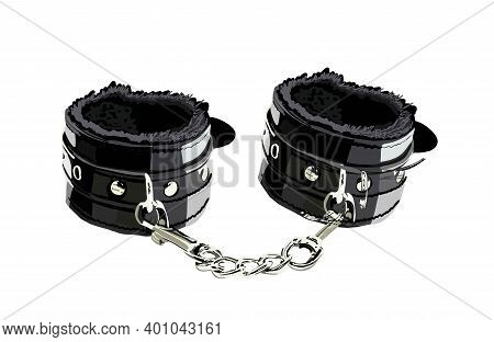 Handcuffs For Sex Games. Leather Handcuffs Isolated On A White Background. Illustration. Fetish. Bds