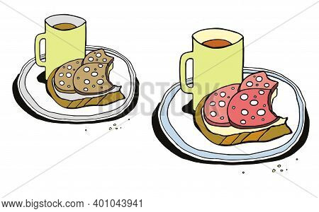 Breakfast Is Tasty And Not Tasty. A Mug Of Coffee And Nibbled Sausage Sandwiches. Humor Illustration