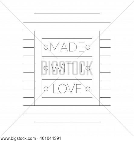 Label Or Logo With Lettering Hand Made. Vector Flat Illustrations. Modern And Stylish Badge. Thin Li