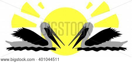 Two Pelicans On The Background Of The Sun, Abstract Eps10 Vector Illustration With Copy Space For Yo